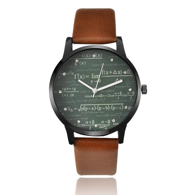 Miler Watch Leather Quartz Man Watches Special Desgin Mathe Matical Formula Prints Fashion Men's Needle Length Wristwatch Reloje