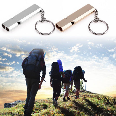 Image of Mini Portable 150db Double Pipe High Decibel Outdoor Camping Hiking Survival Whistle Double-frequency Emergency Whistle Keychain