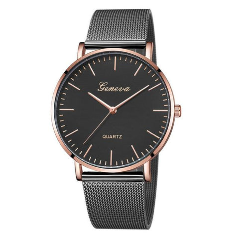 Image of Modern Fashion Black Quartz Watch Men Women Mesh Stainless Steel Watchband High Quality Casual Wristwatch Gift For Female