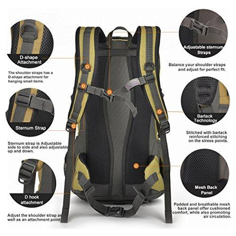 Image of Mountaintop 40 Liter Hiking Backpack For Outdoor Camping