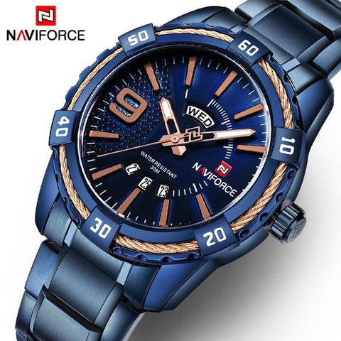 Image of NAVIFORCE Fashion Casual Brand Waterproof Quartz Watch Men Military Stainless Steel Sports Watches Man Clock Relogio Masculino