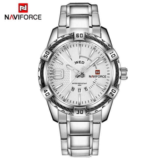 NAVIFORCE Fashion Casual Brand Waterproof Quartz Watch Men Military Stainless Steel Sports Watches Man Clock Relogio Masculino
