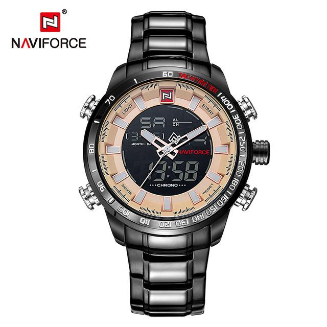 NAVIFORCE Luxury Brand Mens Sport Watch Gold Quartz Led Clock Men Waterproof Wrist Watch Male Military Watches Relogio Masculino