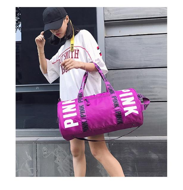 New 5 Color Love Pink Sport Gym Bag Women Fitness Waterproof Backpack Training Female Yoga Duffel Bag VsTravel Totes Duffels