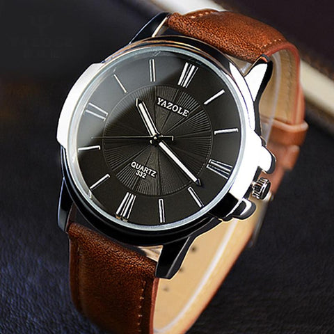 Image of Newest YAZOLE Mens Watches Top Brand Luxury Blue Glass Watch Men Watch Waterproof Leather Roman Men's Watch Male Clock Relojes
