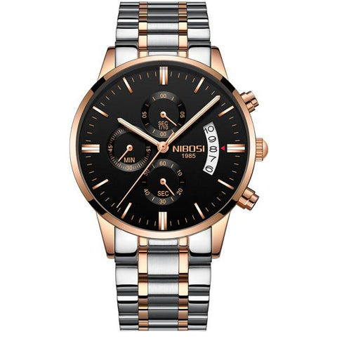 Image of NIBOSI Gold Quartz Watch Top Brand Luxury Men Watches Fashion Man Wristwatches Stainless Steel
