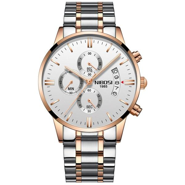 NIBOSI Gold Quartz Watch Top Brand Luxury Men Watches Fashion Man Wristwatches Stainless Steel