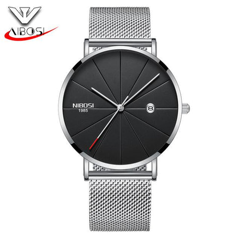Image of NIBOSI Luxury Watches Men Blue Stainless Steel Ultra Thin Watches Men Classic Quartz Date Men's Wrist Watch Relogio Masculino