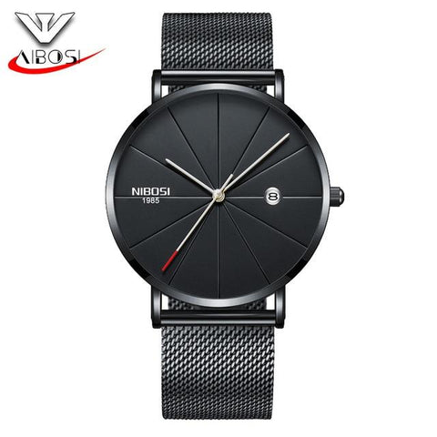 NIBOSI Luxury Watches Men Blue Stainless Steel Ultra Thin Watches Men Classic Quartz Date Men's Wrist Watch Relogio Masculino
