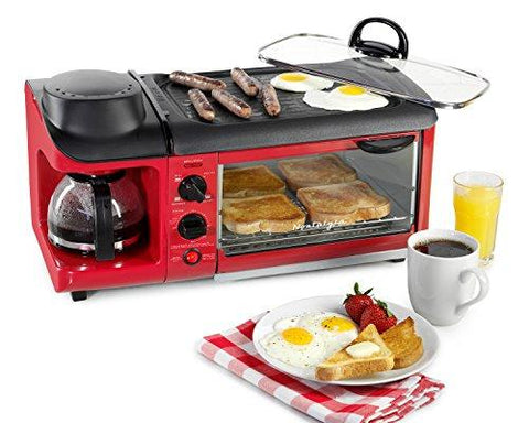 Image of Nostalgia BSET300RETRORED Retro 3-in-1 Family Size Breakfast Station
