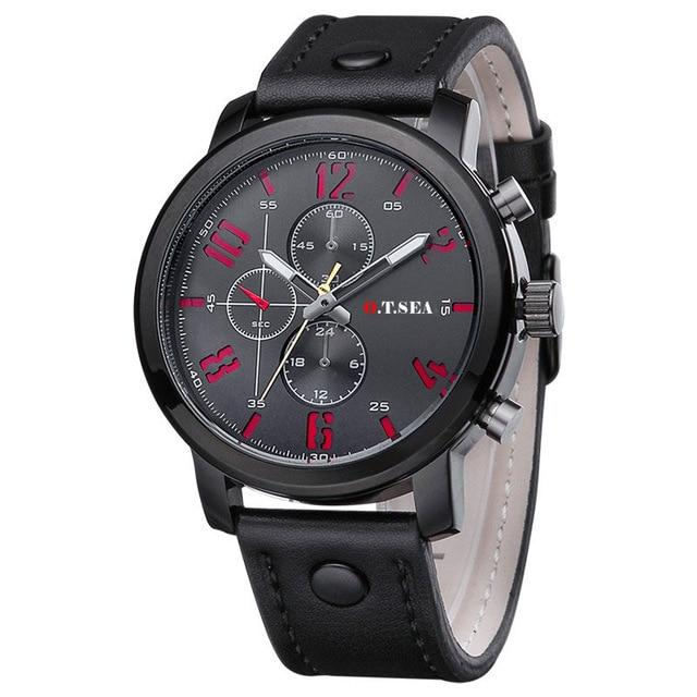 O.T.SEA Brand PU Leather Watches Men Military Sports Quartz Wristwatches Relogio Masculino 8192