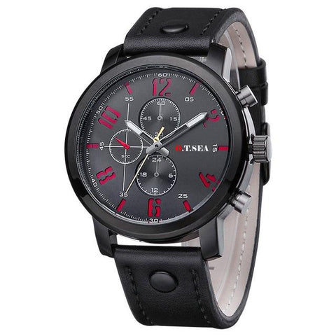 Image of O.T.SEA Brand PU Leather Watches Men Military Sports Quartz Wristwatches Relogio Masculino 8192
