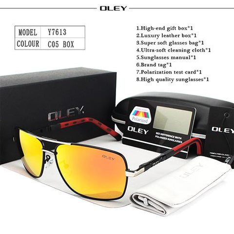 Image of OLEY Brand Polarized Sunglasses Men New Fashion Eyes Protect Sun Glasses With Accessories Unisex