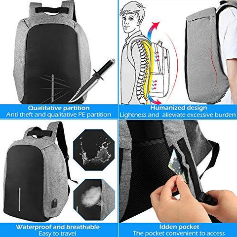 Image of ONSON-Business Laptop Backpack,College Backpack With USB Charging Port,Water Resistant Backpack For Men&Women,Fits 15.6 Inch And Below Laptop-Grey