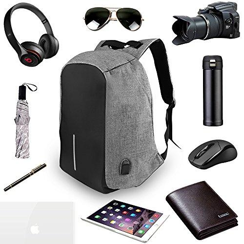ONSON-Business Laptop Backpack,College Backpack With USB Charging Port,Water Resistant Backpack For Men&Women,Fits 15.6 Inch And Below Laptop-Grey
