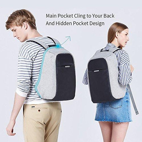 Oscaurt Travel Anti-theft Backpack Business Laptop Backpack College Students Book Bag With USB Charging Port Work Men & Women Grey