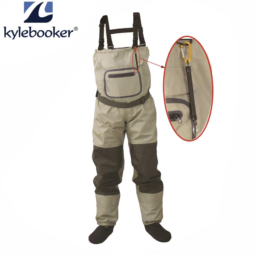 Outdoor Fly Fishing Stocking Foot Waterproof And Breathable Chest Waders With One Buckle With Accidently Rope