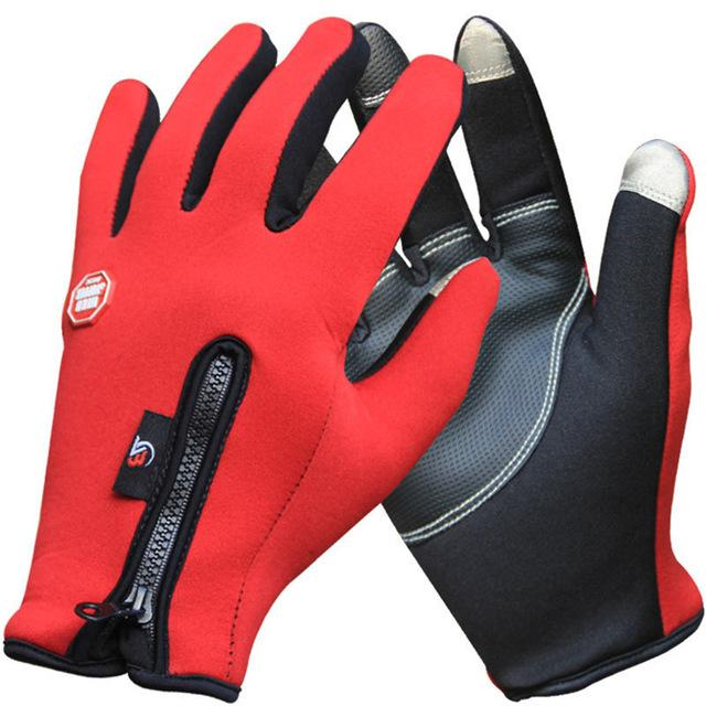 Outdoor Winter Thermal Sports Bike Gloves Windproof Warm Full Finger Cycling, Ski, Motorcycle, Hiking Glove For Phone Touch Screen
