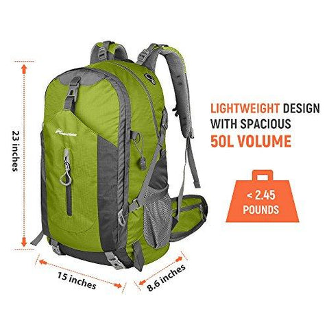 Image of OutdoorMaster Hiking Backpack 50L - Weekend Pack W/ Waterproof Rain Cover & Laptop Compartment - For Camping, Travel, Hiking