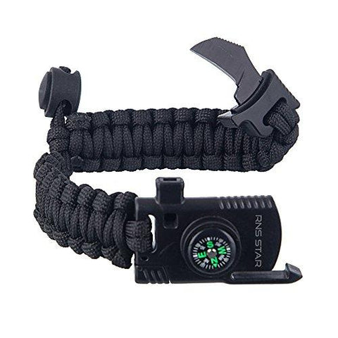 Image of Paracord Survival Bracelet 500 LB - Hiking Gear Travelling Camping Gear Kit - Parachute Rope Bracelet,Compass Stone,Stainless Fire Scrapper,Flint Fire Starter,Survival Knife,Whistle By RNS STAR