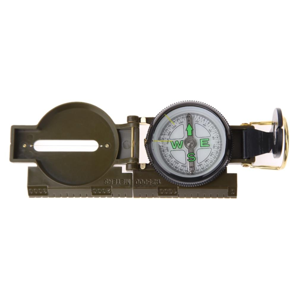 Portable Folding Army Green Lens Compass American Military Multifunction Mini Camping Climbing Outdoor Campass Tool