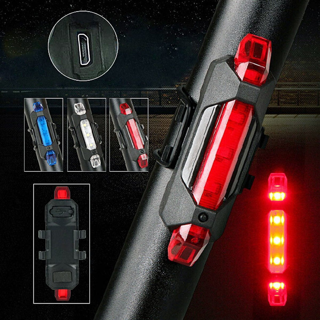 Portable LED USB Rechargeable Cycling Light Bike Bicycle Tail Rear Safety Warning Light 55 YS-BUY