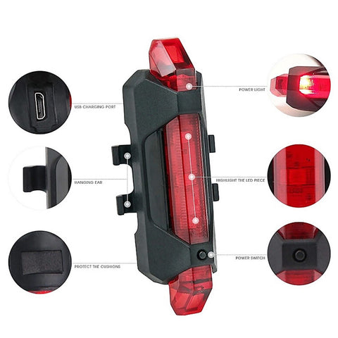 Image of Portable USB Rechargeable Bike Bicycle Tail Rear Safety Warning Light Taillight  Lamp Super Bright ASD88