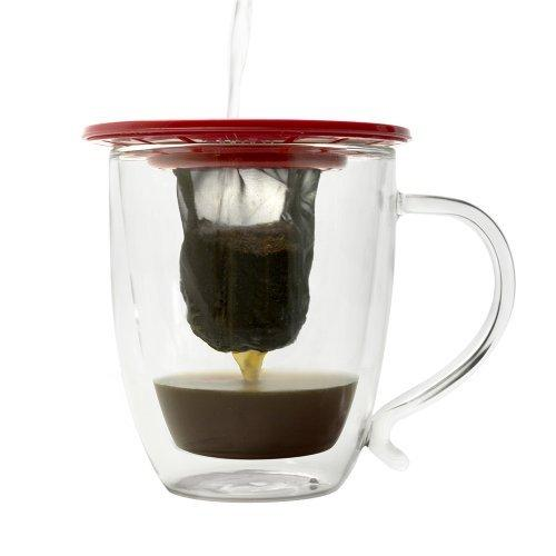 Primula. Single Serve Coffee Brew Buddy – Nearly Universal Fit – Ideal For Travel, Reusable Fine Mesh Filter, Red