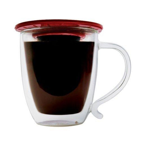 Image of Primula. Single Serve Coffee Brew Buddy – Nearly Universal Fit – Ideal For Travel, Reusable Fine Mesh Filter, Red