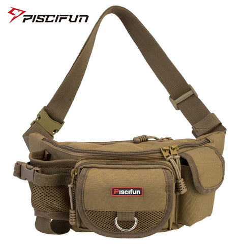 Image of Piscifun Fishing Bag Multifunctional Outdoor Waist Bag Portable Lure Waist Pack Messenger Bag Pole Package Fishing Tackle Bag