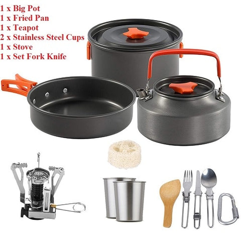 Portable Outdoor Camping Cookware Camping Hiking Picnic Teapot Pot Set Non-stick Tableware with Stove Spoon Fork Knife Kettle