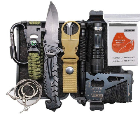 Image of EDC Outdoor Survival Kit Set Camping Travel Survival Gear First Aid SOS Emergency Tactical Survival Knife Pen Blanket Paracord