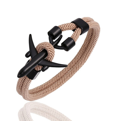 MKENDN Fashion Men Women Airplane Anchor Bracelets Charm Rope Chain Paracord aviation life Jewelry