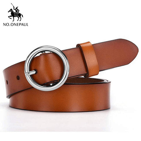 Ladies leather belt hipster accessories casual pin buckle decoration fashion popular vintage alloy round buckle belt