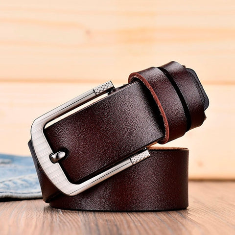 DWTS male leather belt genuine leather strap luxury pin buckle belts for men