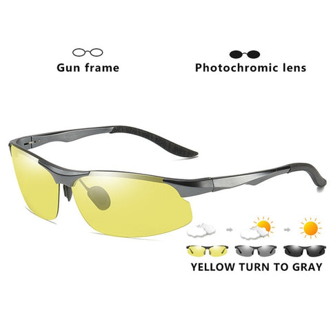 Aluminum Magnesium Photochromic Polarized Sunglasses Men Driving Glasses Day Night Vision Driver Goggles