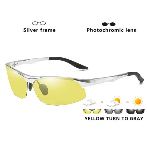 Image of Aluminum Magnesium Photochromic Polarized Sunglasses Men Driving Glasses Day Night Vision Driver Goggles