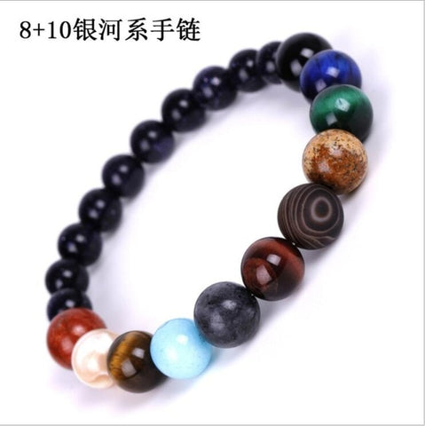 Image of Galaxy Solar System Bracelet Universe Nine Planets Natural Stone Stars Earth Moon Bracelet For Women Man Fashion Jewelry