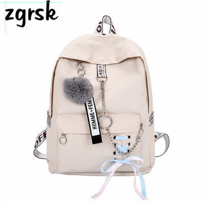 Image of Chain USB Backpack Women Canvas 5pcs/set Women Backpack Teenager Girls Backpacks Shoulder Bag Female Student School Bags Tassel