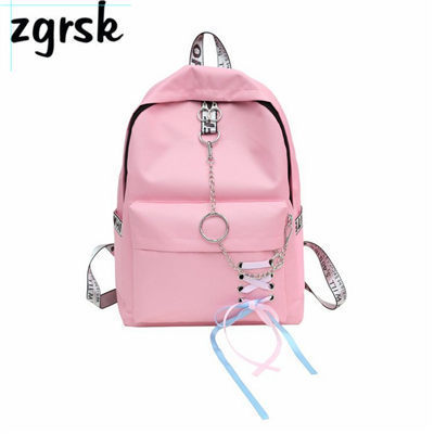 Chain USB Backpack Women Canvas 5pcs/set Women Backpack Teenager Girls Backpacks Shoulder Bag Female Student School Bags Tassel