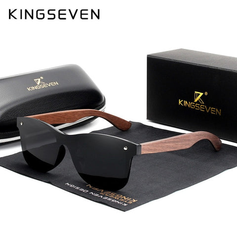 KINGSEVEN Luxury Walnut Wood Sunglasses Polarized Wooden Brand Designer Rimless Mirrored Square Sun Glasses For Women/Men