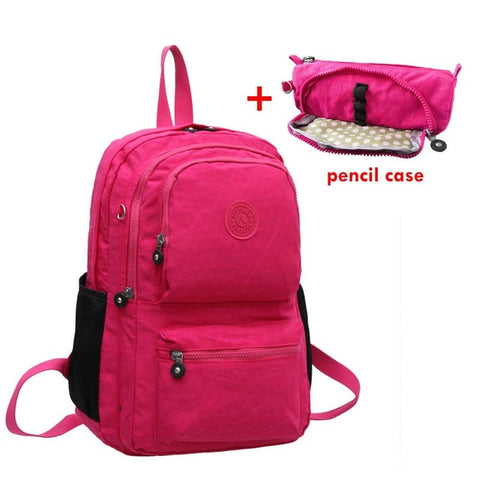 Image of Casual Original School Backpack for Teenage Girl Waterproof Nylon Laptop Bag With Keychain