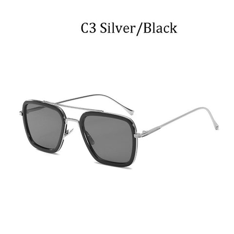 Image of :uxury Fashion Avengers Tony Stark Sunglasses Men Square Brand Design Sun Glasses Retro male Iron Man