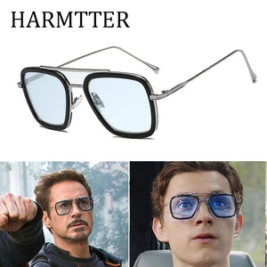 :uxury Fashion Avengers Tony Stark Sunglasses Men Square Brand Design Sun Glasses Retro male Iron Man