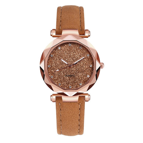 Ladies Fashion Rhinestone Rose Gold Quartz Watch Female Belt Watch Women's Fashion Watches