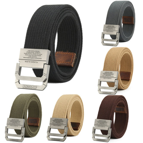 Image of Nylon Canvas Belt men Army Tactical Belts Outdoor sport double buckle weave cowboy pants belt