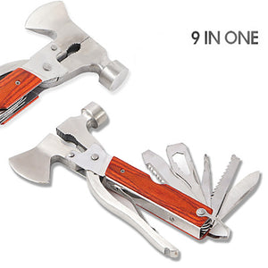 9 IN 1 Multi Tools Outdoor multi-function axe portable camping tent hammer Multifunctional Tool