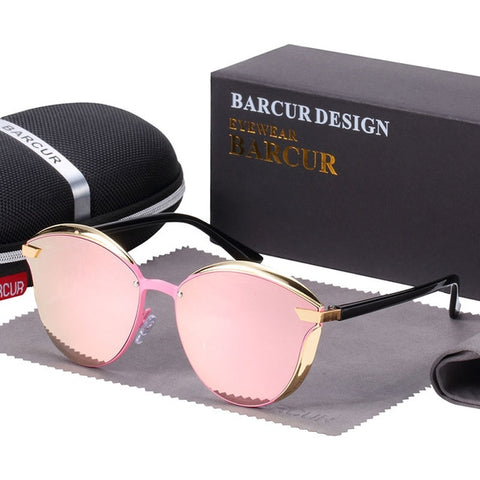 BARCUR Luxury Polarized Sunglasses Women Round Sun glasses Ladies