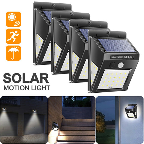 Vertvie 1/2/4pcs 30/40 LED Solar Power Wall Lights Waterproof Travel PIR Motion Sensor Outdoor Security Lamps Camping Tools