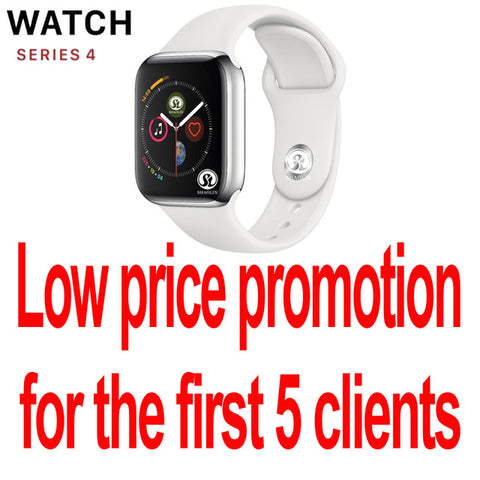 Smart Watch Series 4 SmartWatch case for apple 5 6 7 iPhone Android Smart phone heart rate monitor pedometor (Red Button)